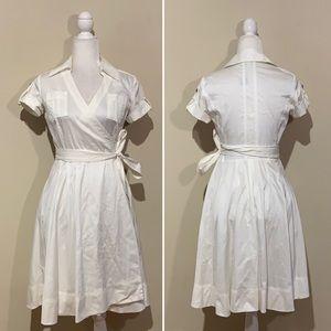 Banana Republic White Short Sleeve Wrap Shirtdress